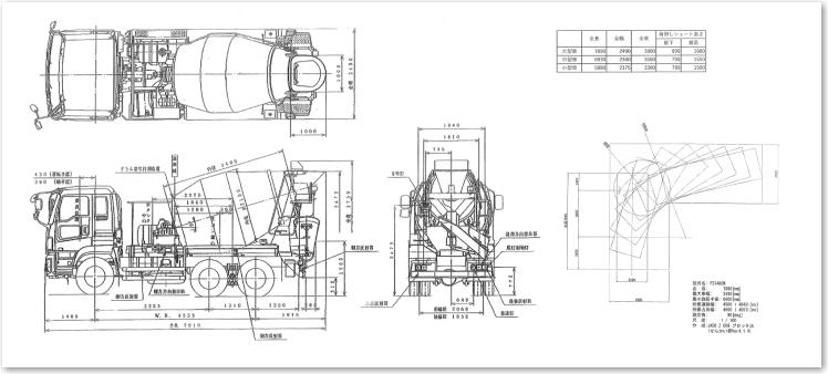 トラックアジテータ車寸法+軌跡図